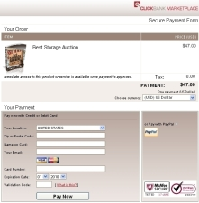 ClickBank Best Storage Auction Manual Payment Screen